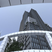 FluidRay RT photo-realistic rendering of a skyscraper