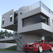 FluidRay RT real-time architectural rendering of a modern house