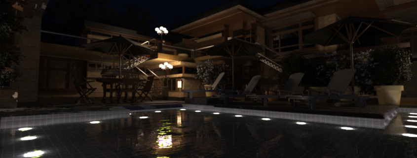 FluidRay RT real-time photo-realistic rendering of a pool