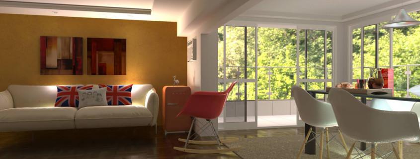 FluidRay interior rendering of a living room by Roberto Pittaluga