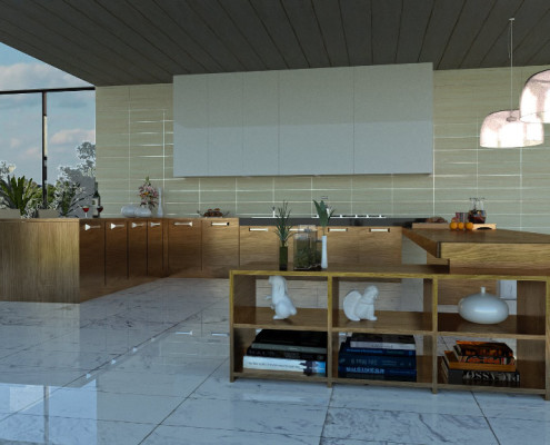 FluidRay RT kitchen rendering by Robeto Pittaluga, model by Rosanna Mataloni