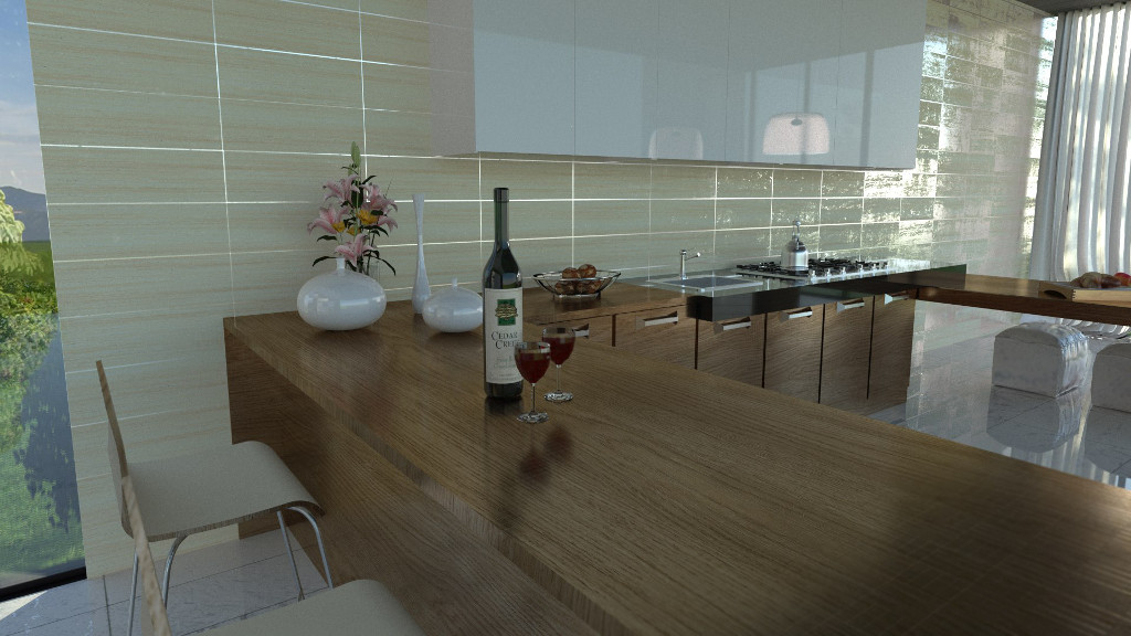 3d interior design renderings in real time fluidray rt software Kitchen design rendering software