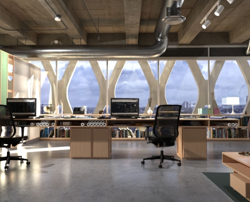 Office Interior Rendering with FluidRay