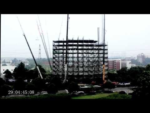 NewArk Hotel construction timelapse: 15 storeys in 48 hours.