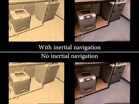 Combining Inertial Navigation and ICP for Real-time 3D Surface Reconstruction