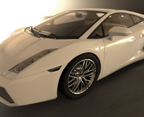 FluidRay RT real-time photo-realistic rendering of a Lamborghini