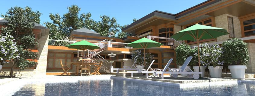Sunny pool rendering