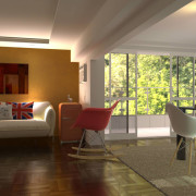 FluidRay interior rendering of a living room by Roberto Pittaluga