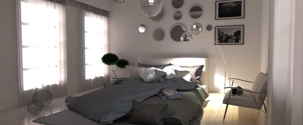 FluidRay interior rendering of a bedroom by Roberto Pittaluga