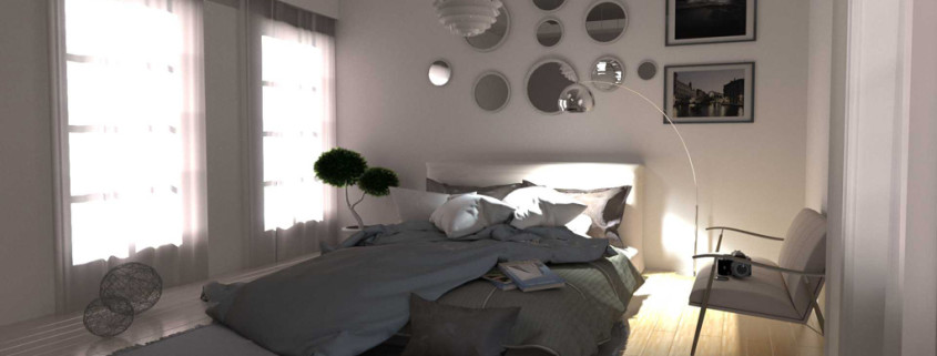 FluidRay interior rendering of a bedroom by Roberto Pittaluga