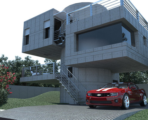 Real-time architectural rendering of a modern house
