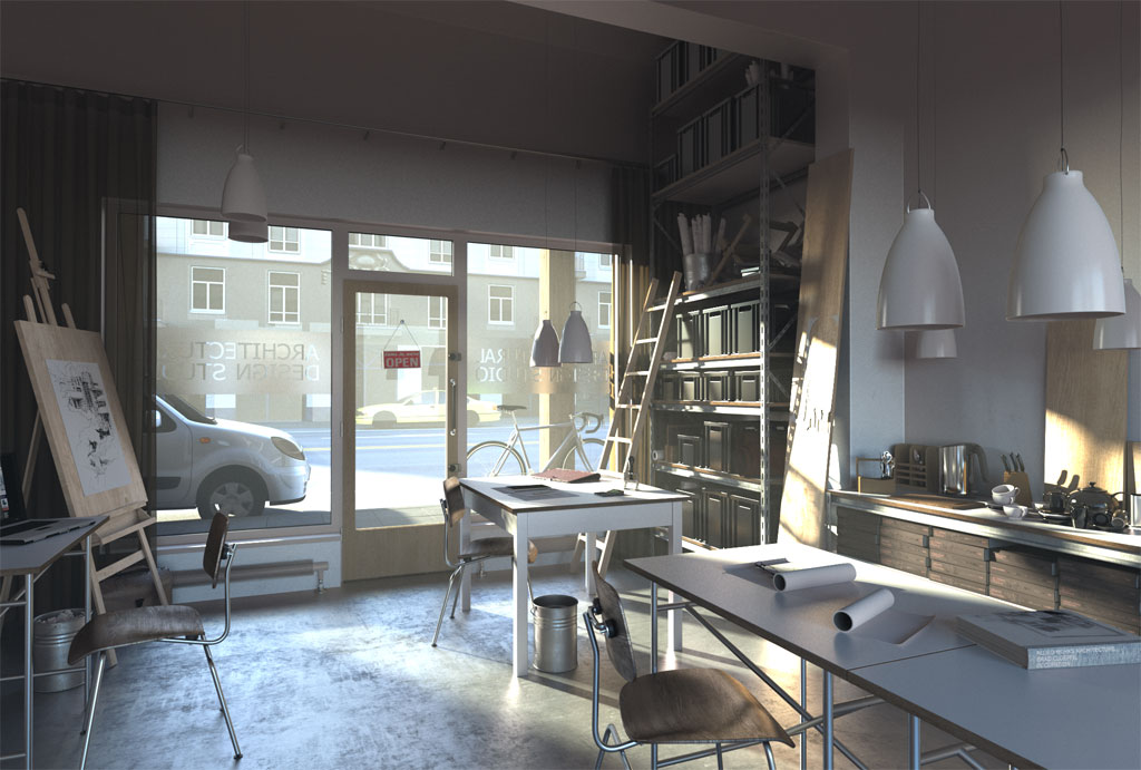 3D Interior Design Renderings in RealTime FluidRay RT Software