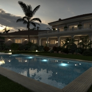 Night Pool Render with FluidRay