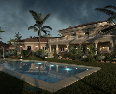 Daylight Exterior Architectural Rendering with FluidRay