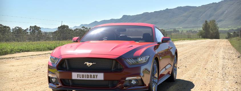 Mustang rendering with FluidRay