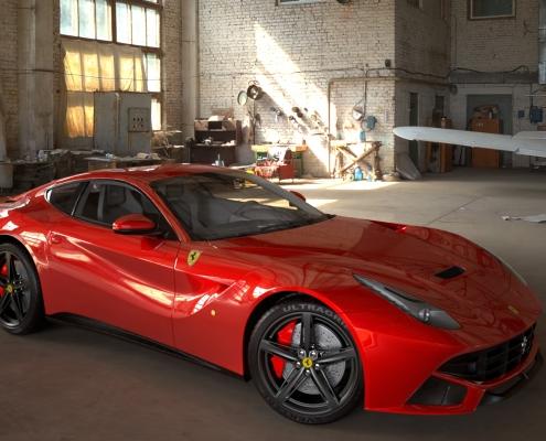 Ferrari Rendering with FluidRay