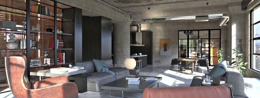 luidRay Living Room Interior Render