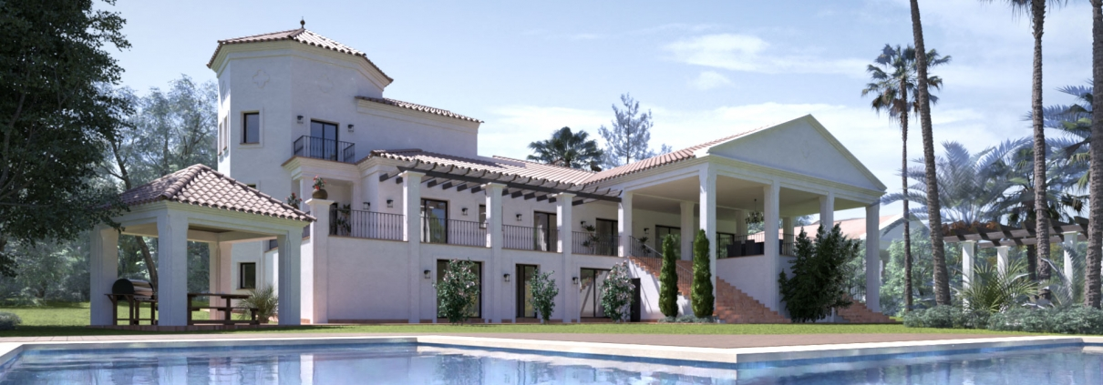 Exterior render with pool