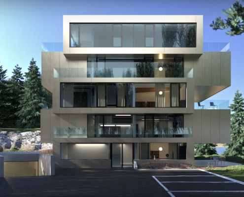 Mountain lake exterior render with FluidRay
