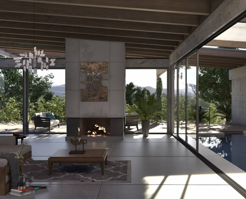 Modern interior rendering with FluidRay