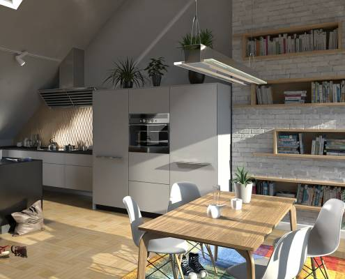 Interior render with FluidRay