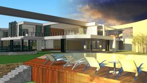 SketchUp exterior rendering with FluidRay